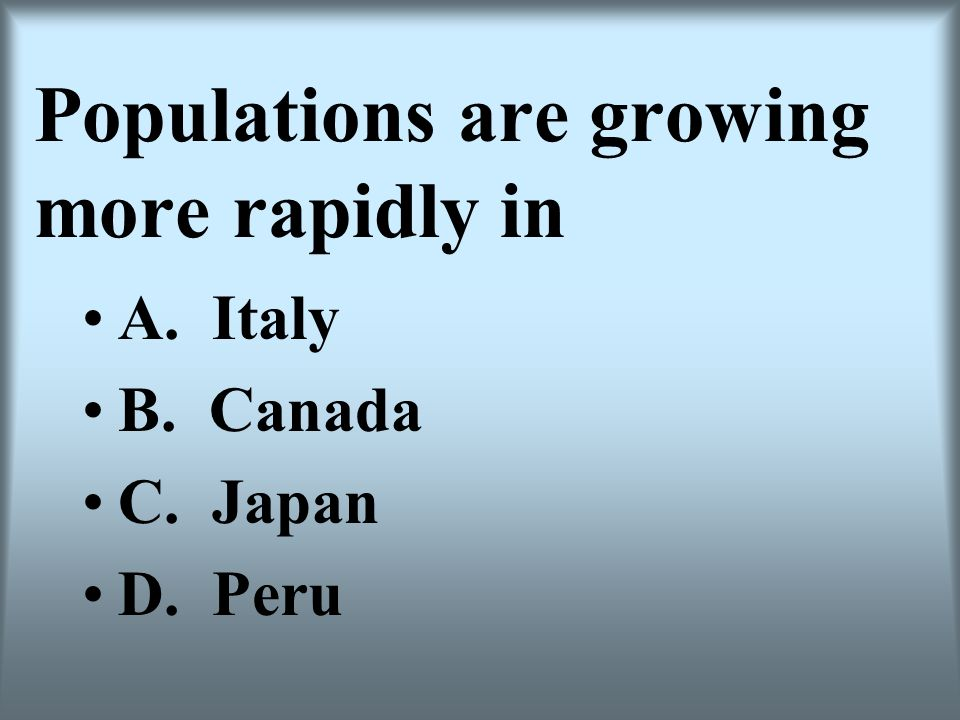 Populations are growing more rapidly in