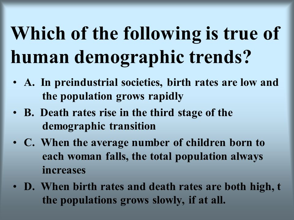 Which of the following is true of human demographic trends