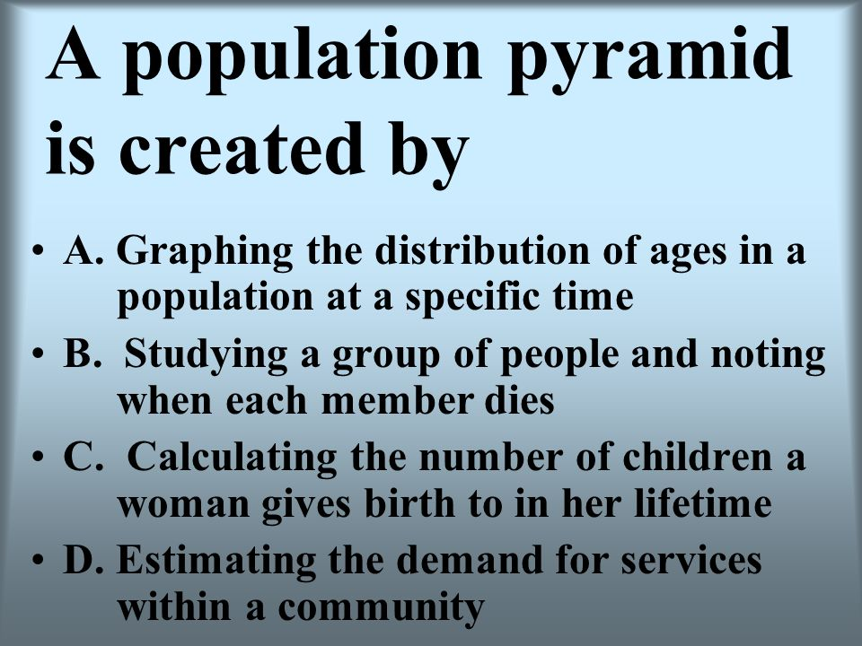 A population pyramid is created by
