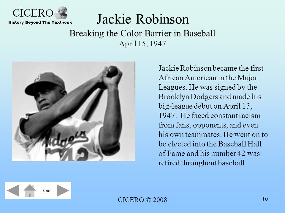 Jackie Robinson Breaking the Color Barrier in Baseball April 15, 1947
