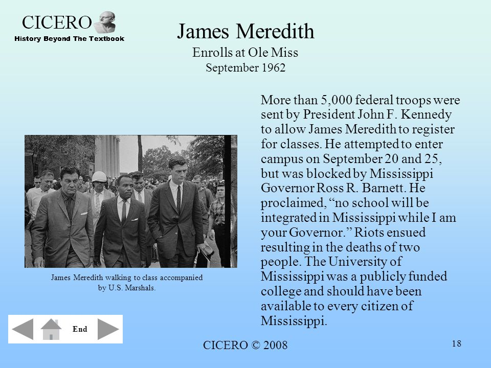 James Meredith Enrolls at Ole Miss September 1962