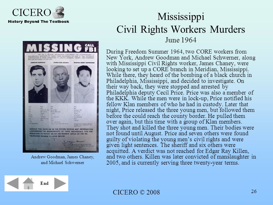 Mississippi Civil Rights Workers Murders June 1964