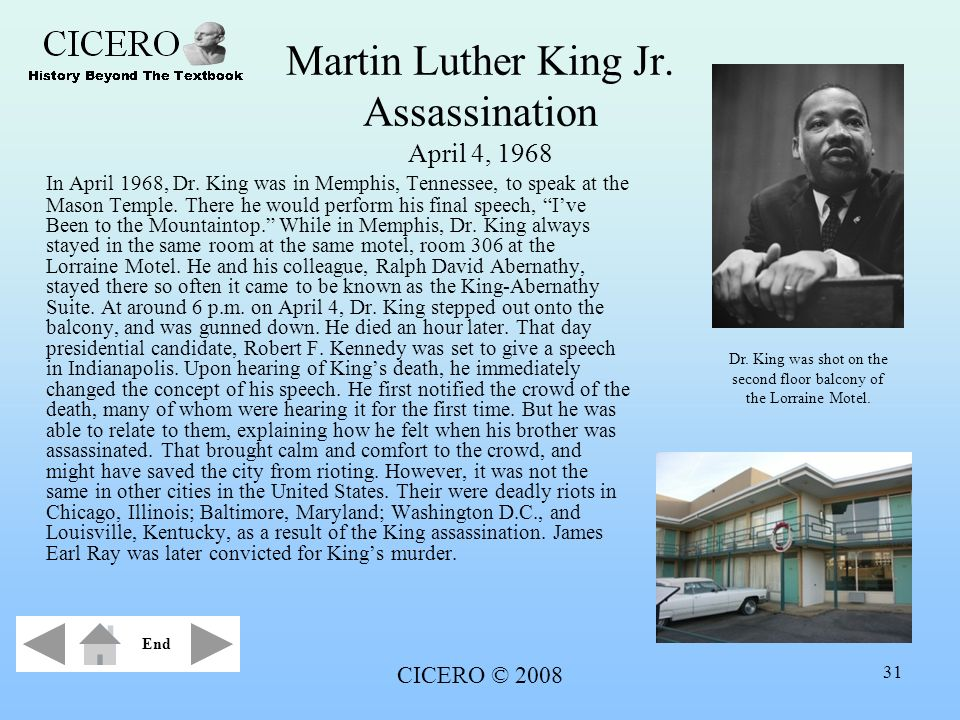 Martin Luther King Jr. Assassination April 4, 1968