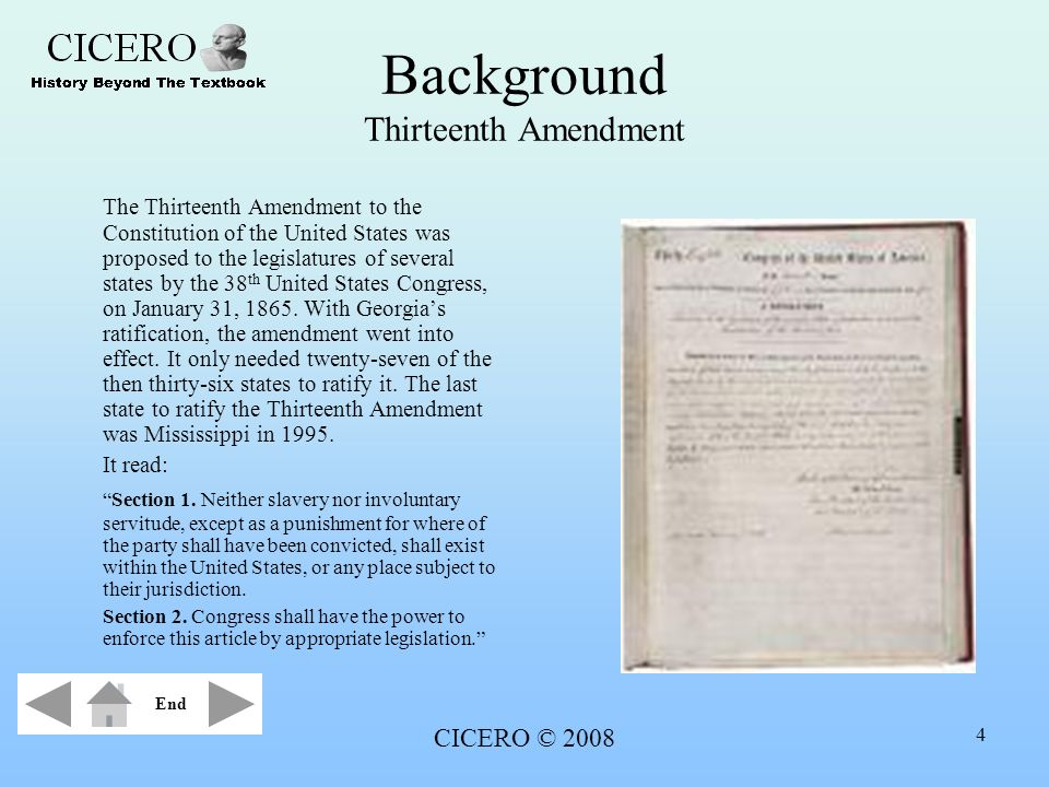 Background Thirteenth Amendment