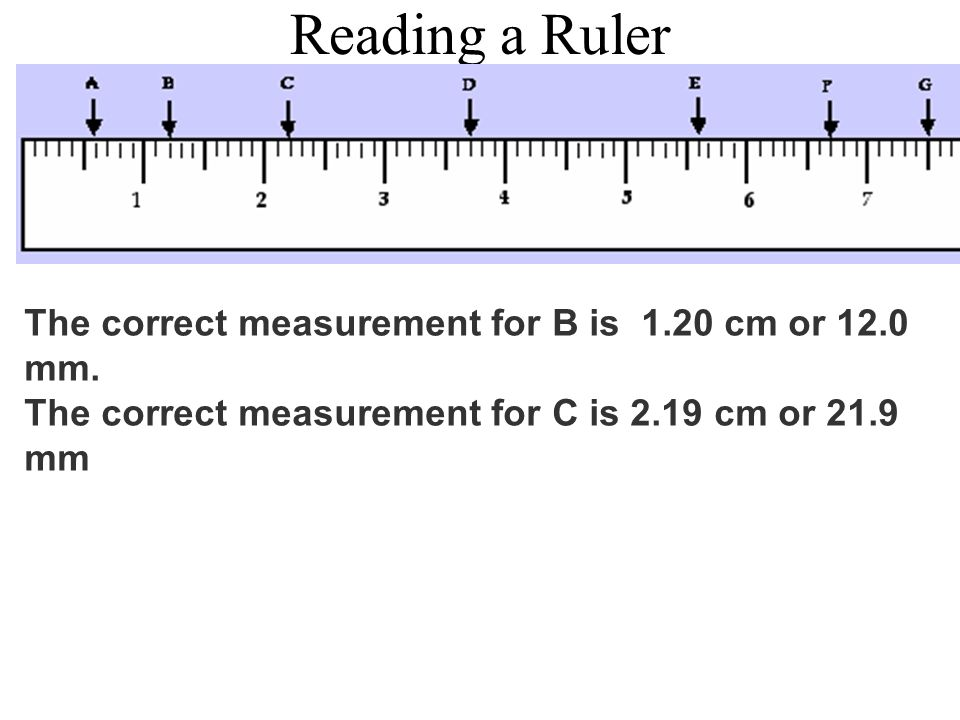 Reading a Ruler The correct measurement for B is 1.20 cm or 12.0 mm.
