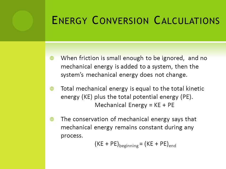 Energy Conversion Calculations