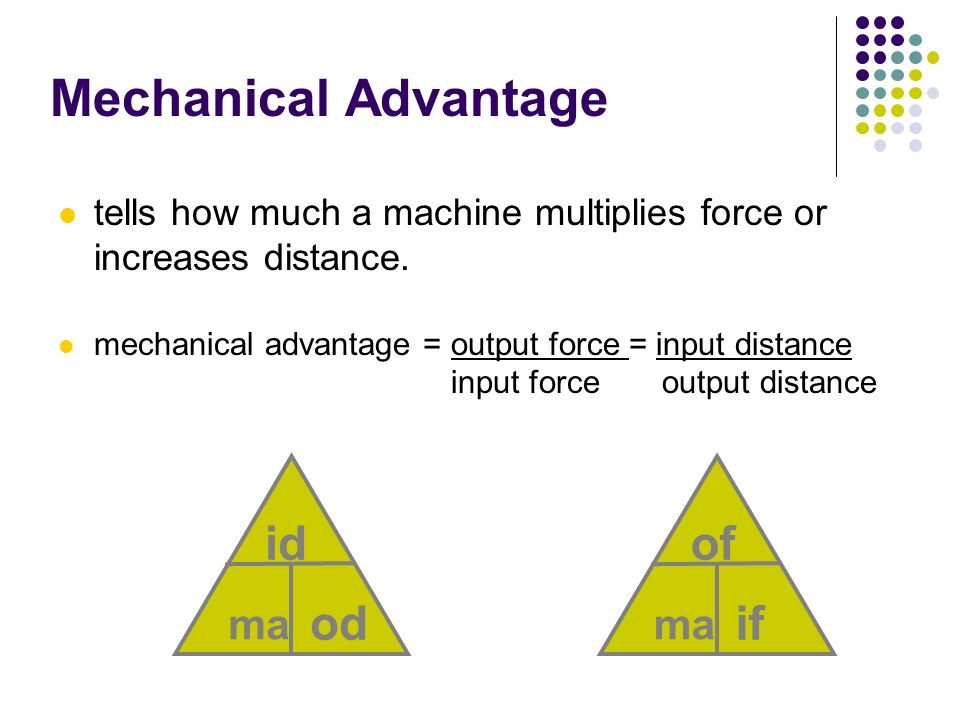 Mechanical Advantage id od of if ma ma