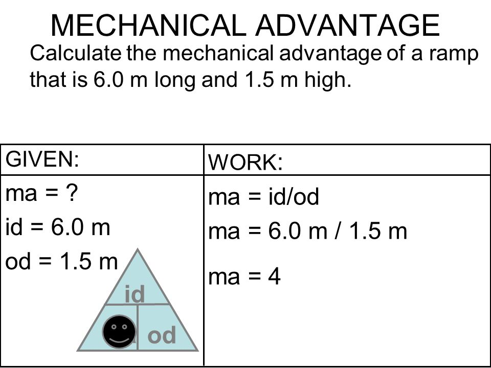MECHANICAL ADVANTAGE id od ma = ma = id/od id = 6.0 m