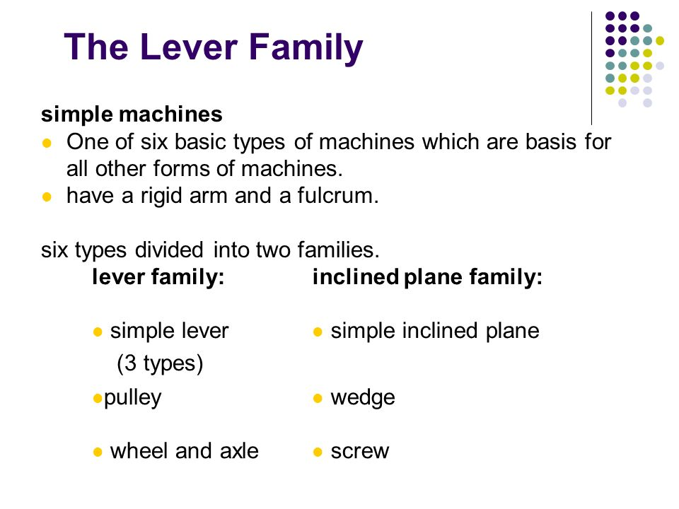 The Lever Family simple machines