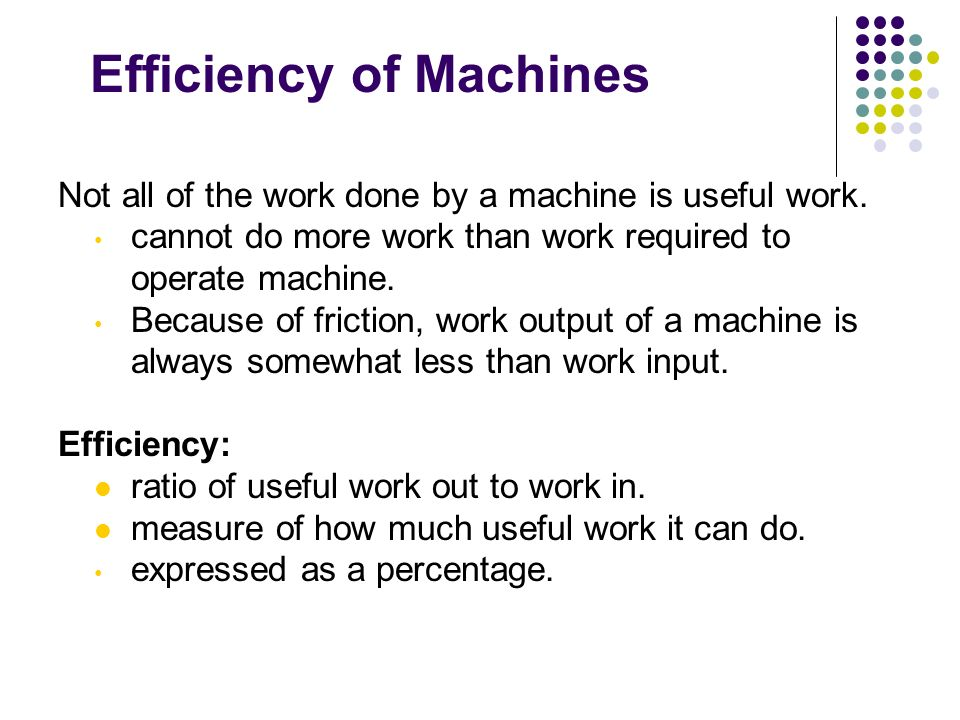 Efficiency of Machines