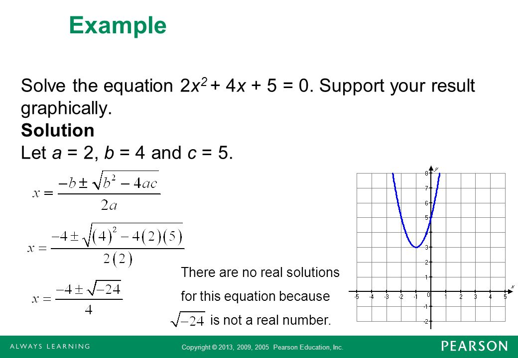 Example Solve the equation 2x2 + 4x + 5 = 0. Support your result graphically. Solution Let a = 2, b = 4 and c = 5.