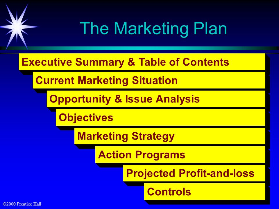 The Marketing Plan Executive Summary & Table of Contents