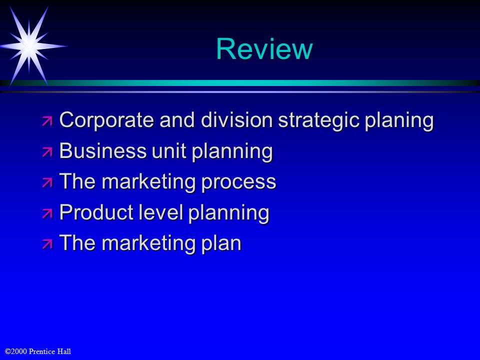 Review Corporate and division strategic planing Business unit planning
