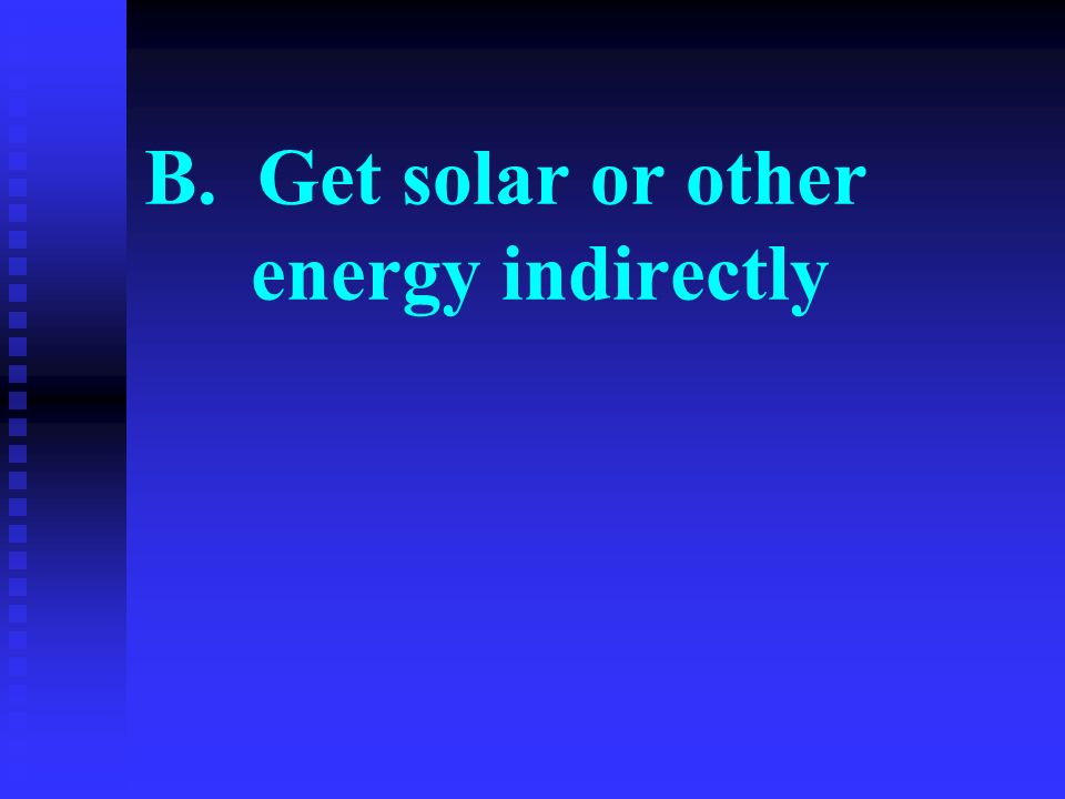 B. Get solar or other energy indirectly