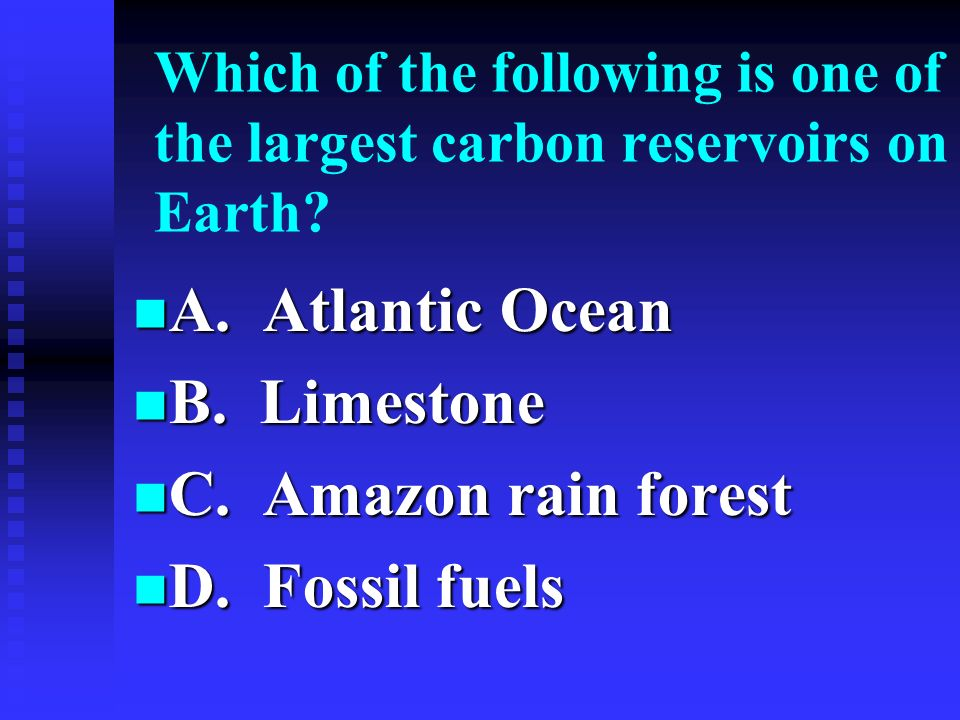 A. Atlantic Ocean B. Limestone C. Amazon rain forest D. Fossil fuels