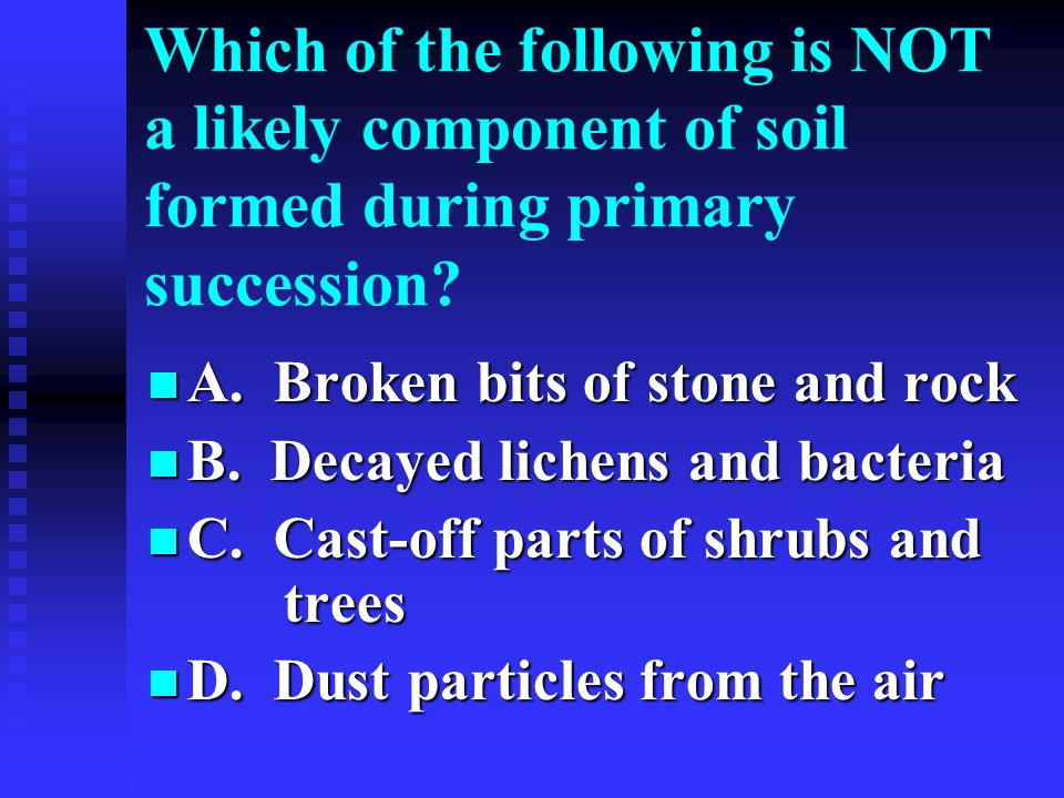 Which of the following is NOT a likely component of soil formed during primary succession