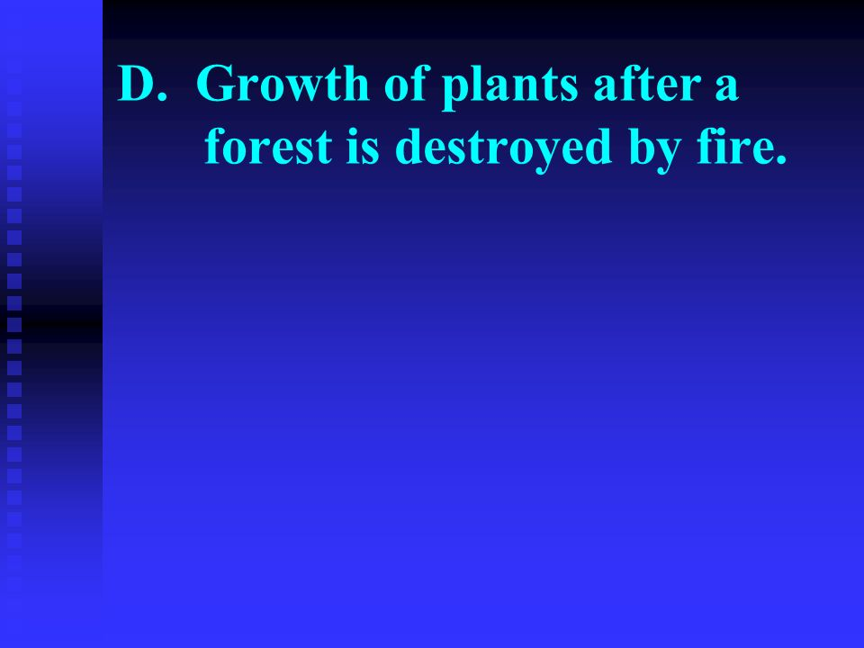 D. Growth of plants after a forest is destroyed by fire.