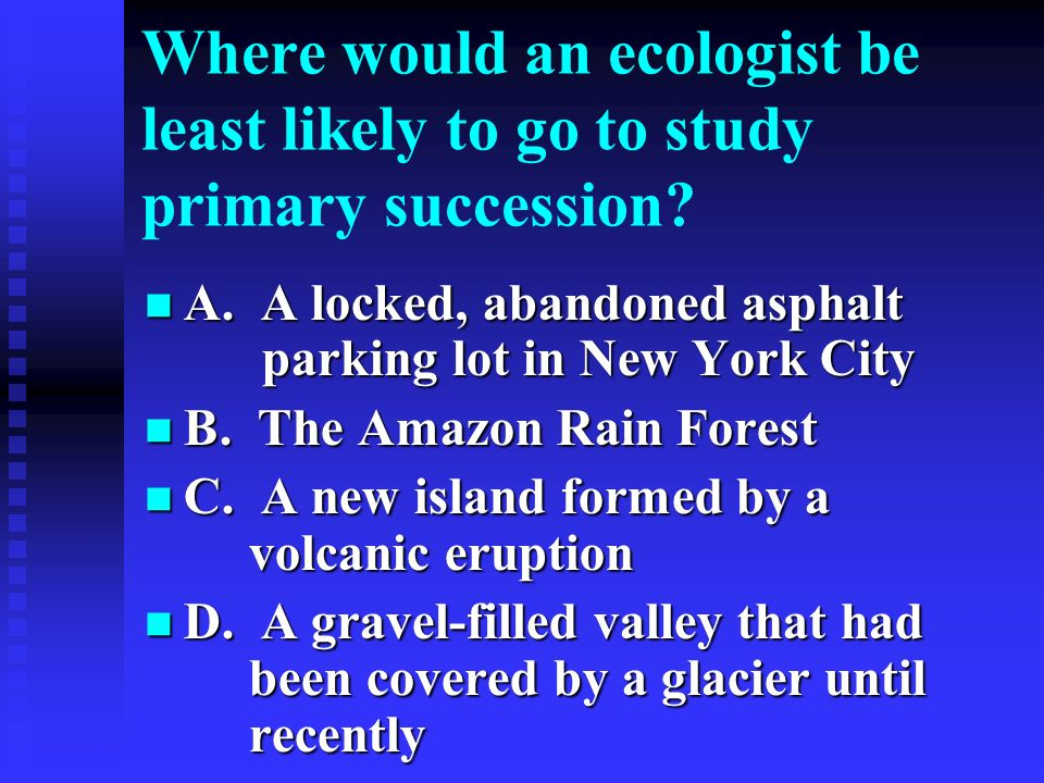 Where would an ecologist be least likely to go to study primary succession