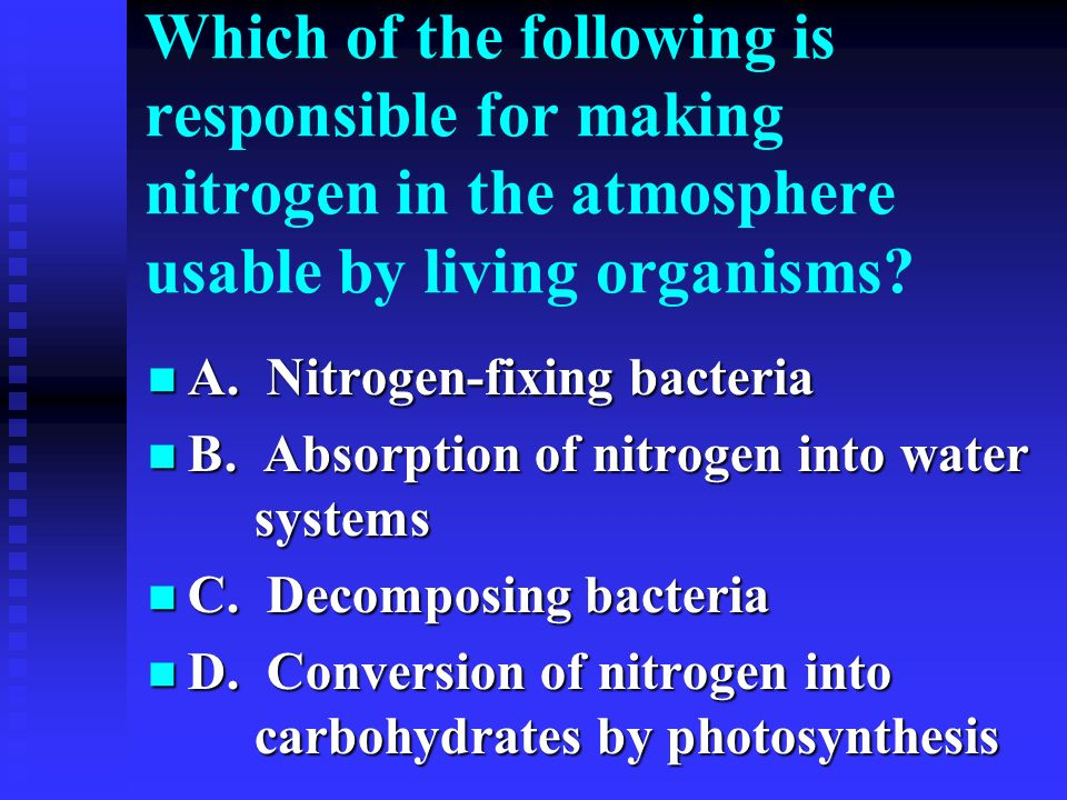 Which of the following is responsible for making nitrogen in the atmosphere usable by living organisms