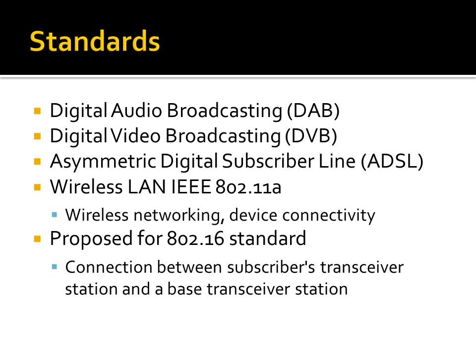 Standards Digital Audio Broadcasting (DAB)