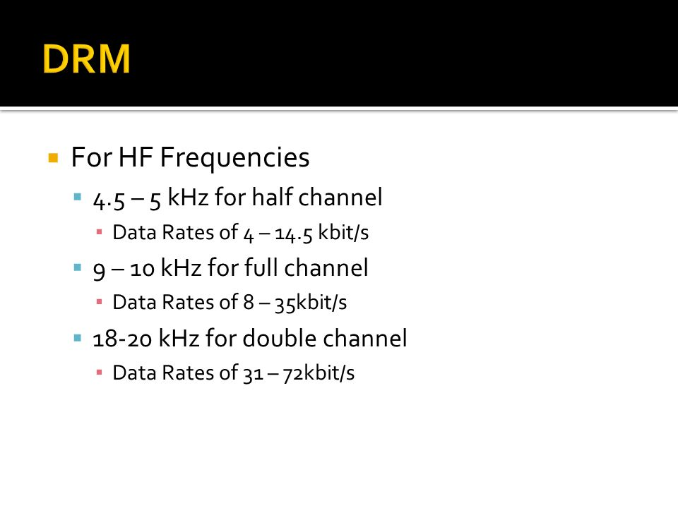 DRM For HF Frequencies 4.5 – 5 kHz for half channel