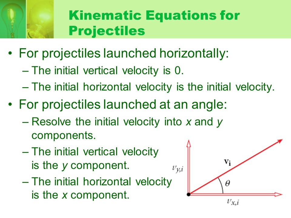 Kinematic Equations for Projectiles