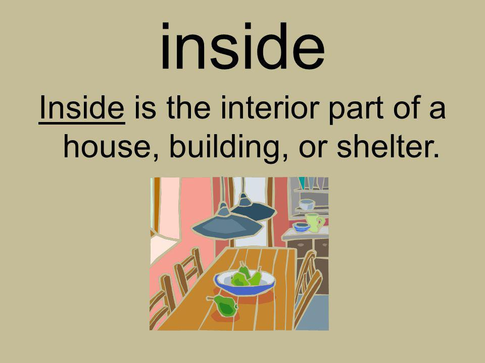 Inside is the interior part of a house, building, or shelter.