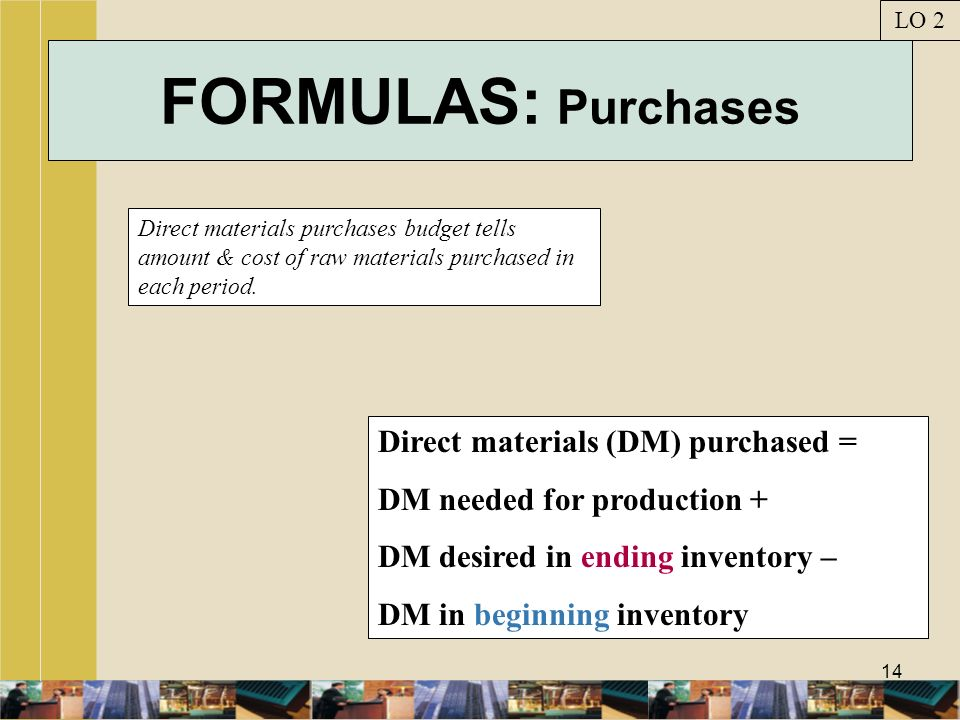 FORMULAS: Purchases Direct materials (DM) purchased =