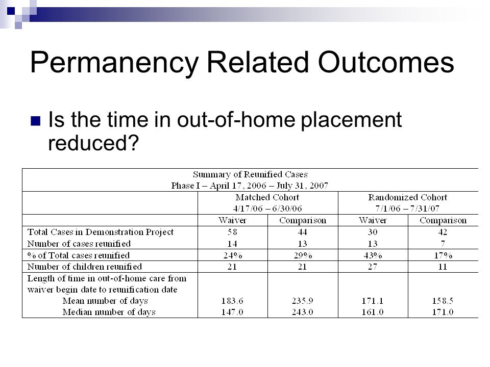 Permanency Related Outcomes