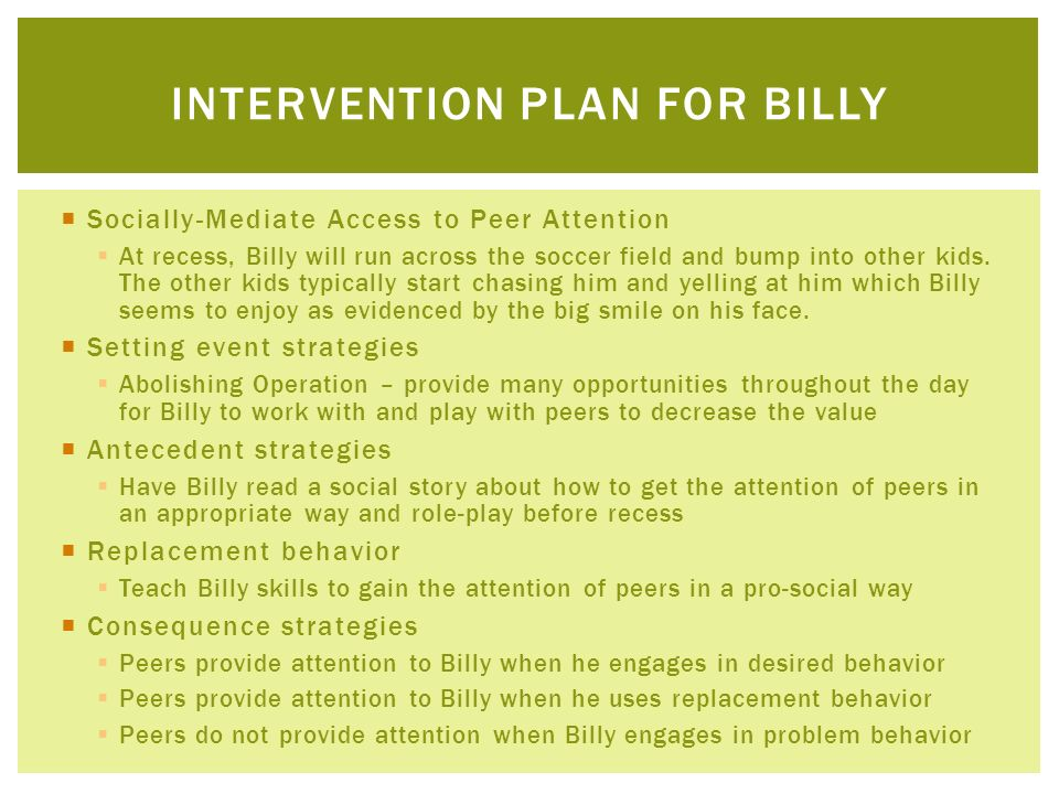 Intervention plan for billy