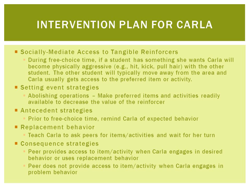 Intervention plan for carla
