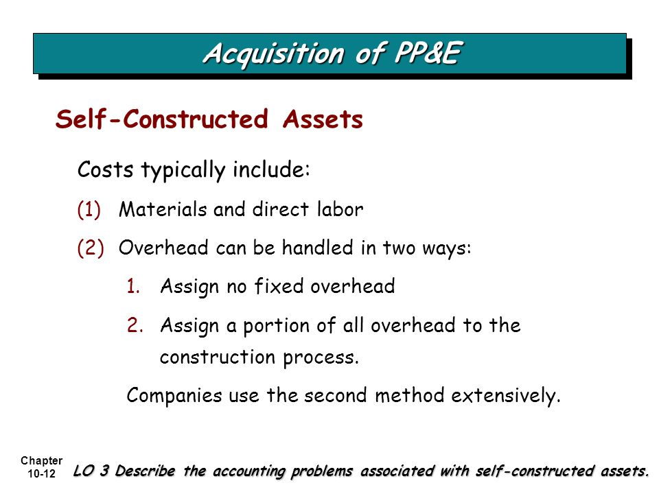Acquisition of PP&E Self-Constructed Assets Costs typically include: