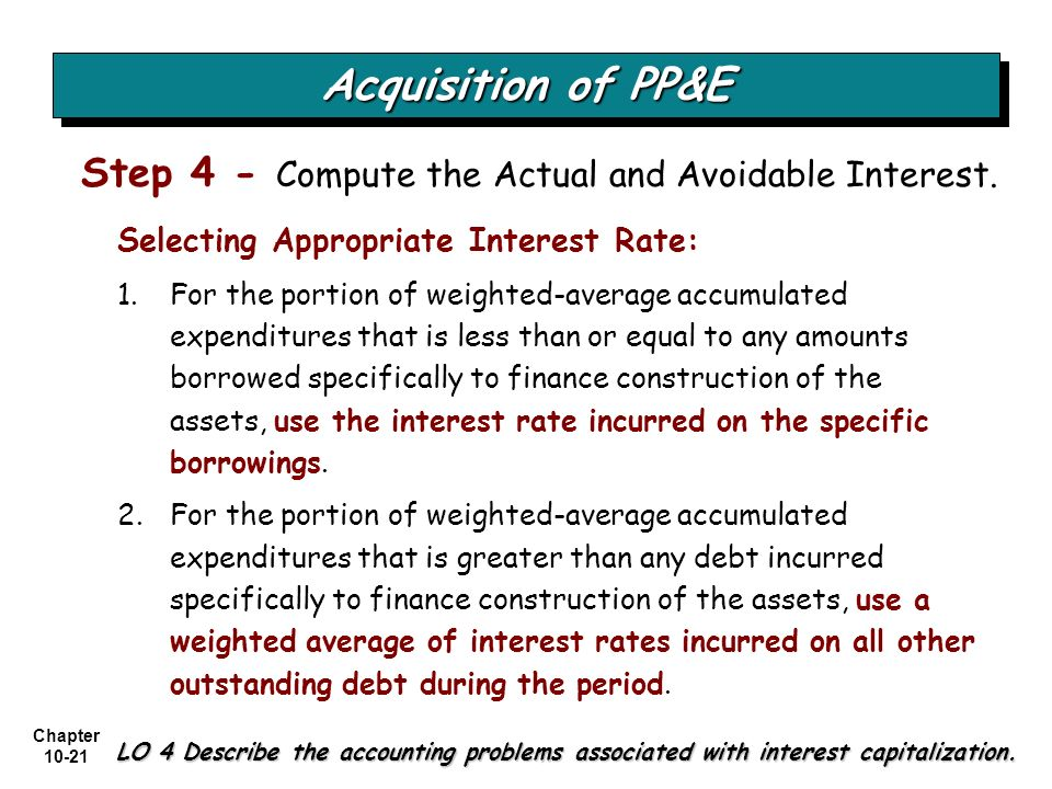 Acquisition of PP&E Step 4 - Compute the Actual and Avoidable Interest. Selecting Appropriate Interest Rate: