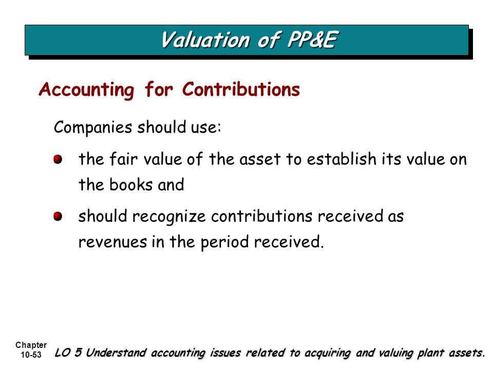 Valuation of PP&E Accounting for Contributions Companies should use:
