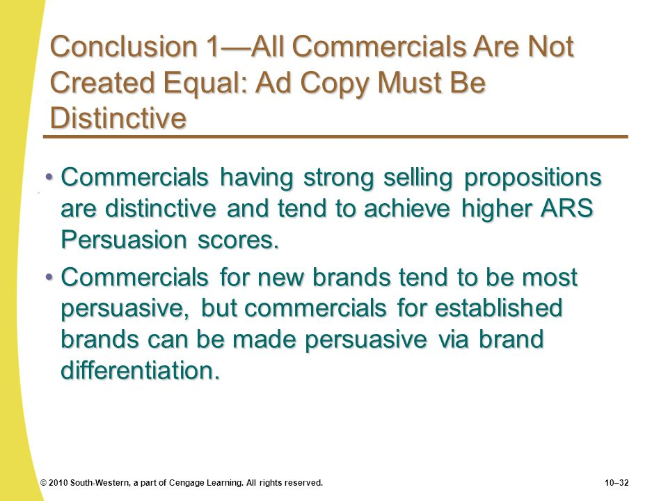 Conclusion 1—All Commercials Are Not Created Equal: Ad Copy Must Be Distinctive