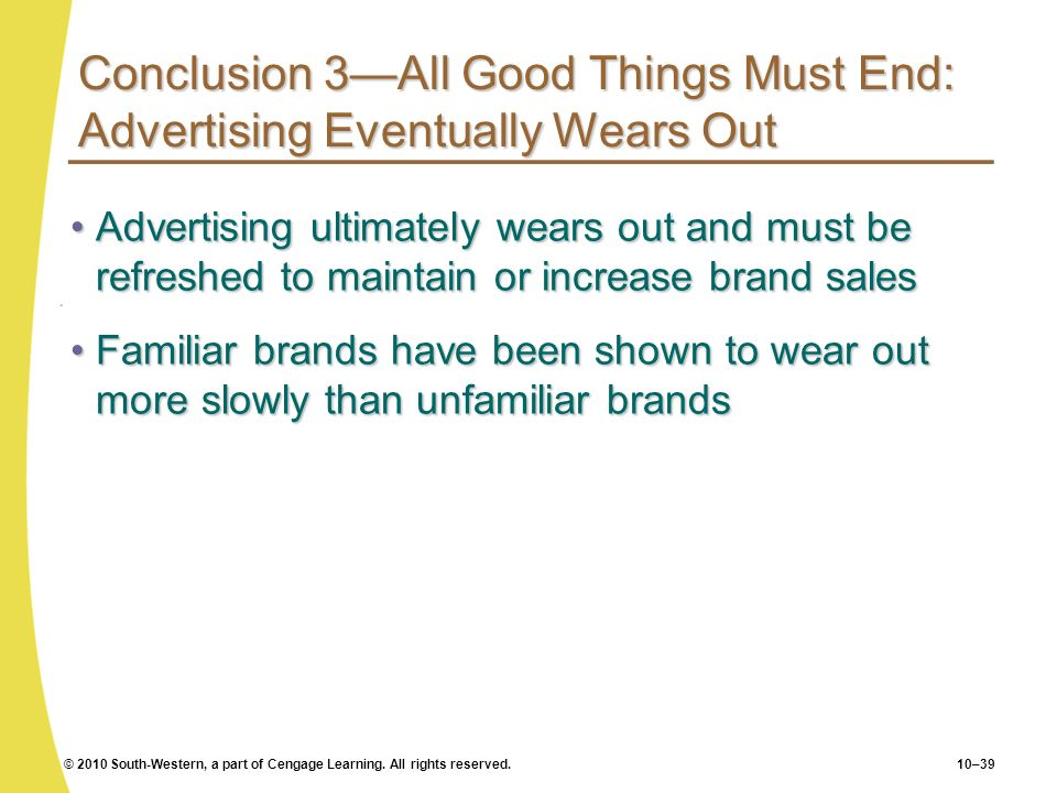 Conclusion 3—All Good Things Must End: Advertising Eventually Wears Out