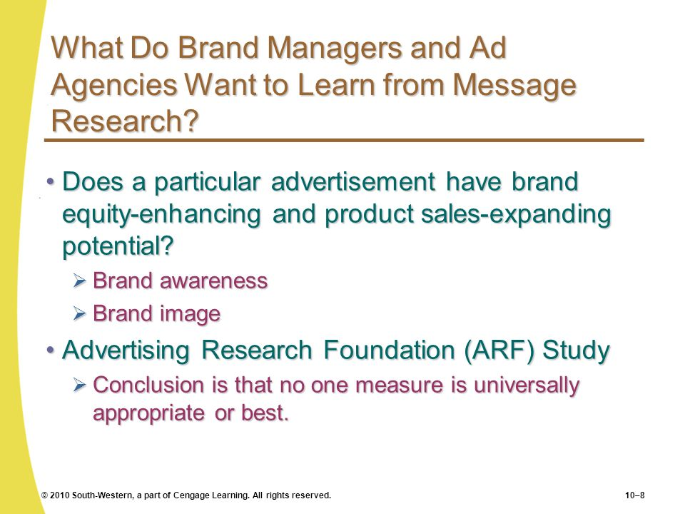 What Do Brand Managers and Ad Agencies Want to Learn from Message Research