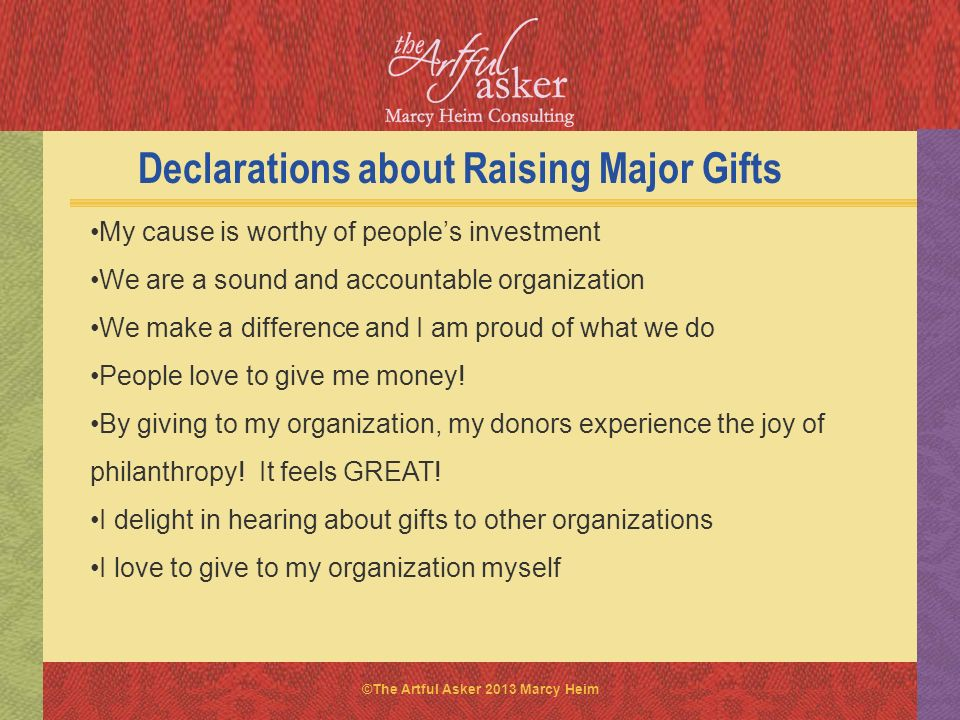 Declarations about Raising Major Gifts