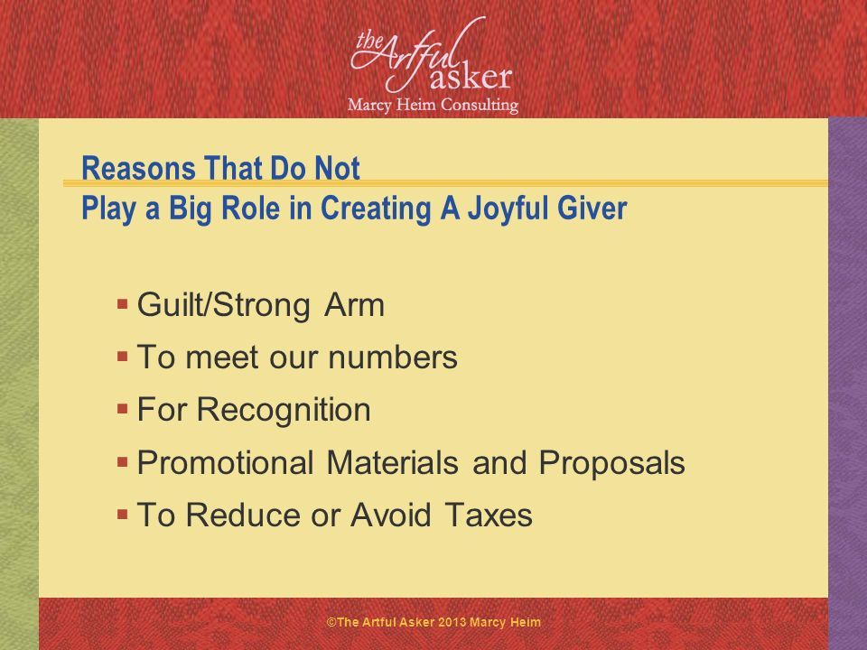 Reasons That Do Not Play a Big Role in Creating A Joyful Giver