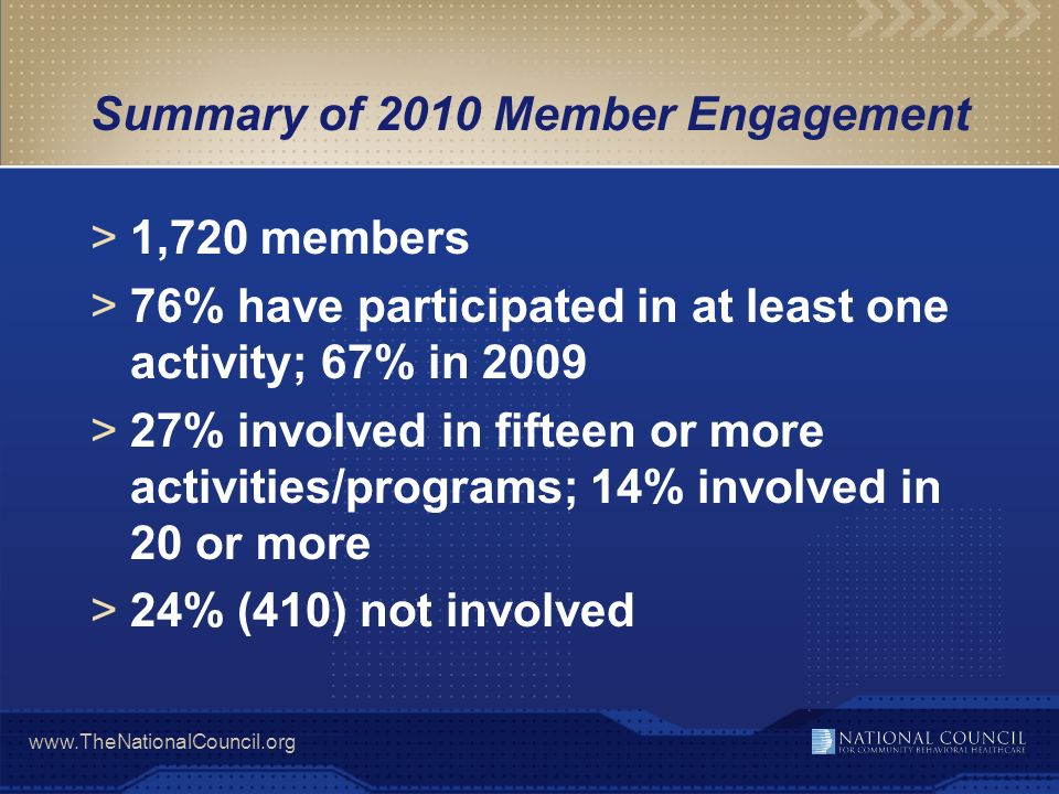 Summary of 2010 Member Engagement