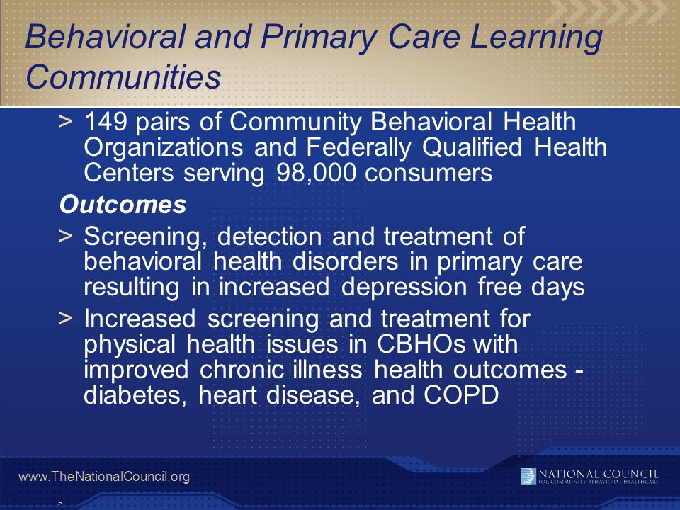 Behavioral and Primary Care Learning Communities