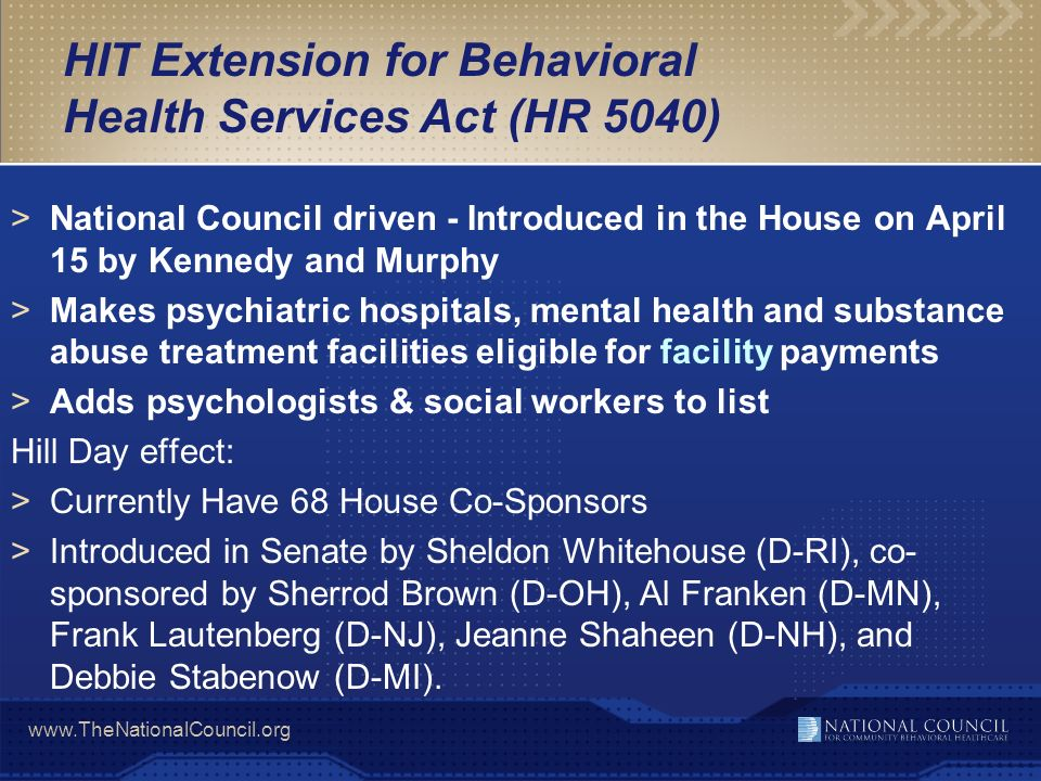 HIT Extension for Behavioral Health Services Act (HR 5040)