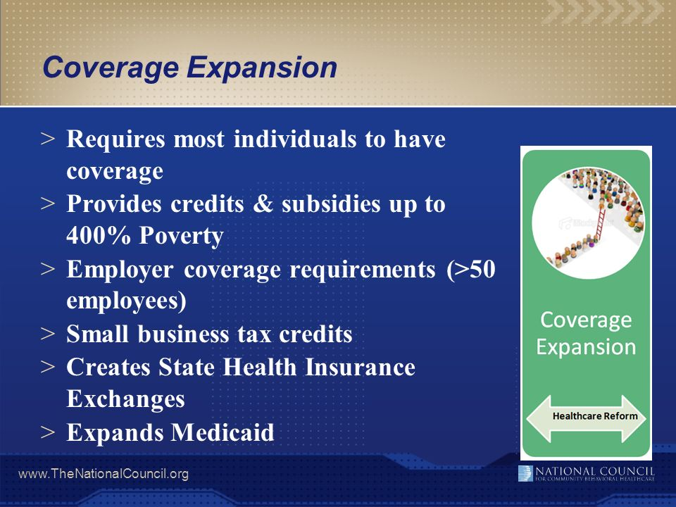 Coverage Expansion Requires most individuals to have coverage
