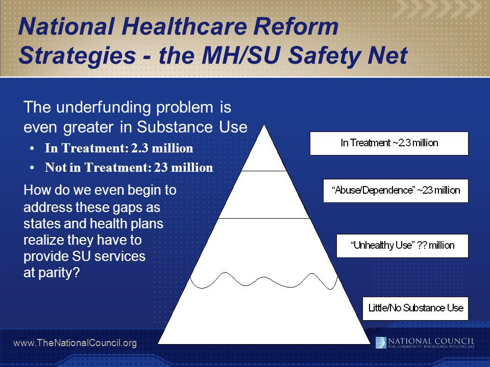 National Healthcare Reform Strategies - the MH/SU Safety Net