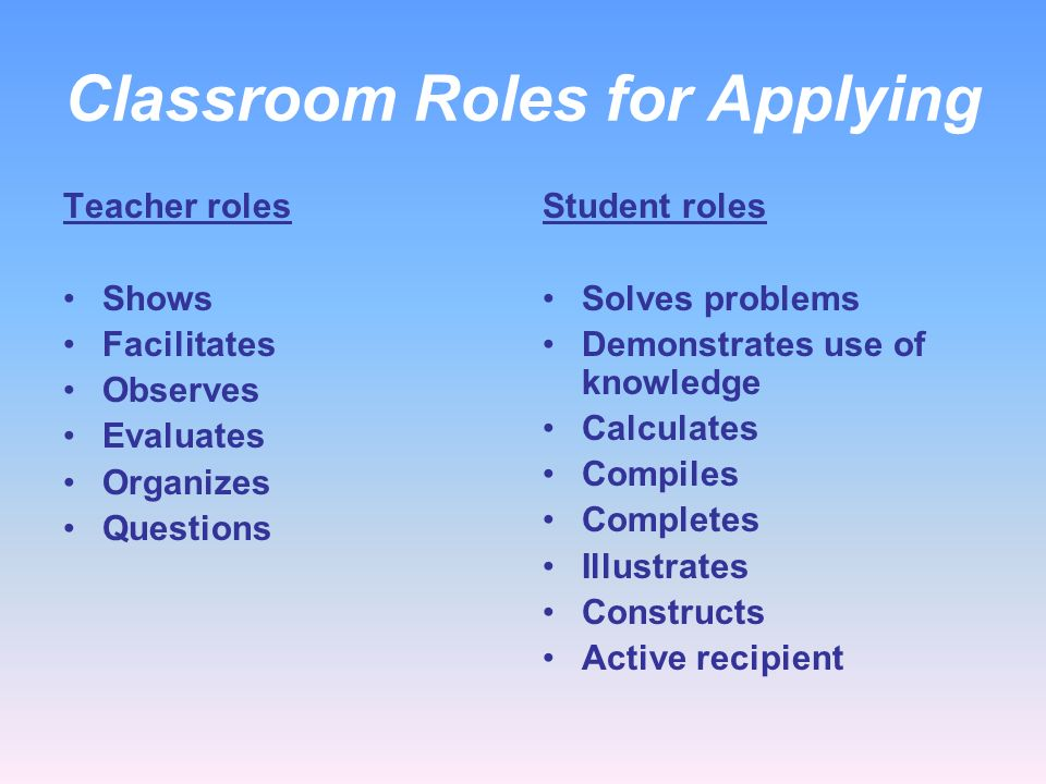 Classroom Roles for Applying