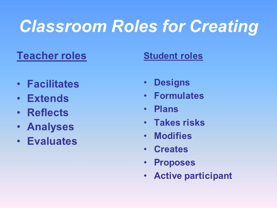 Classroom Roles for Creating