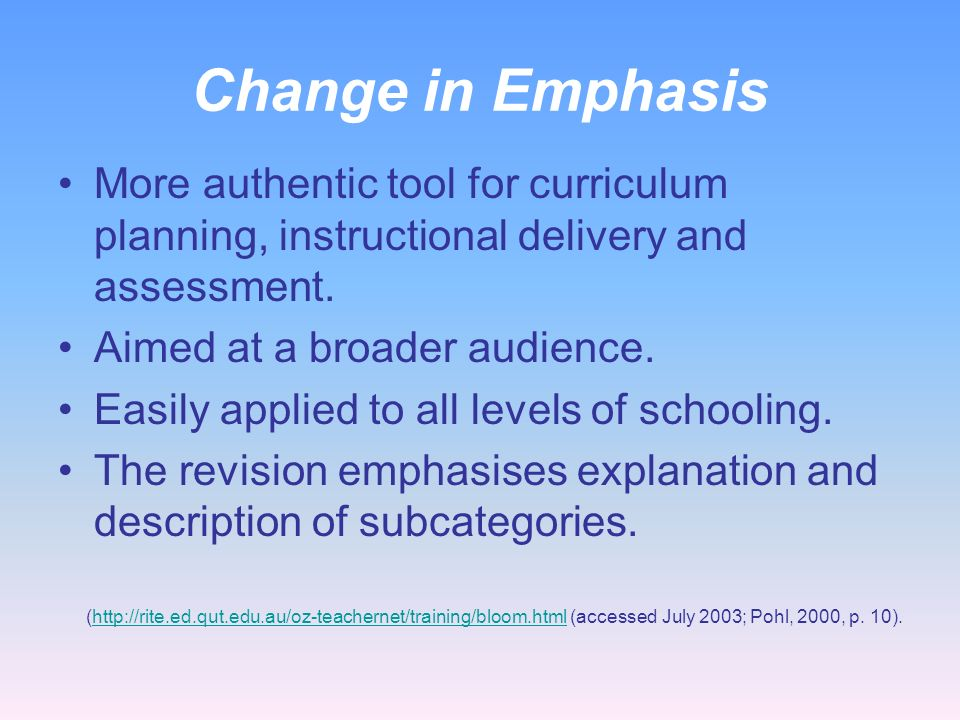 Change in Emphasis More authentic tool for curriculum planning, instructional delivery and assessment.