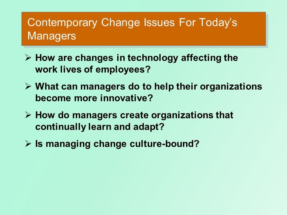 Contemporary Change Issues For Today's Managers