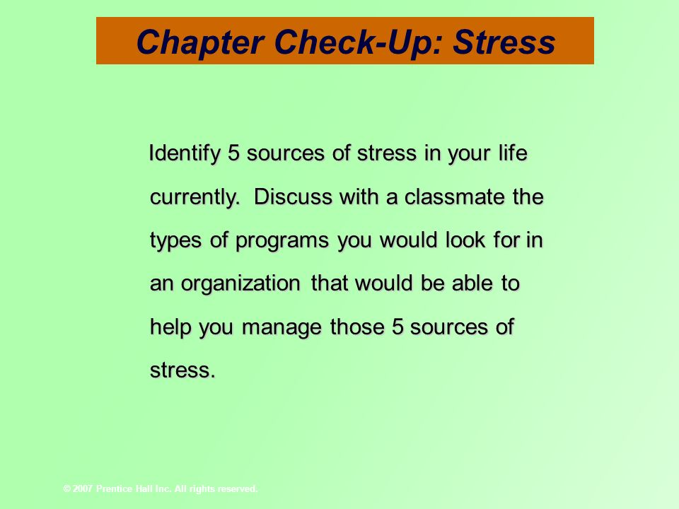 Chapter Check-Up: Stress