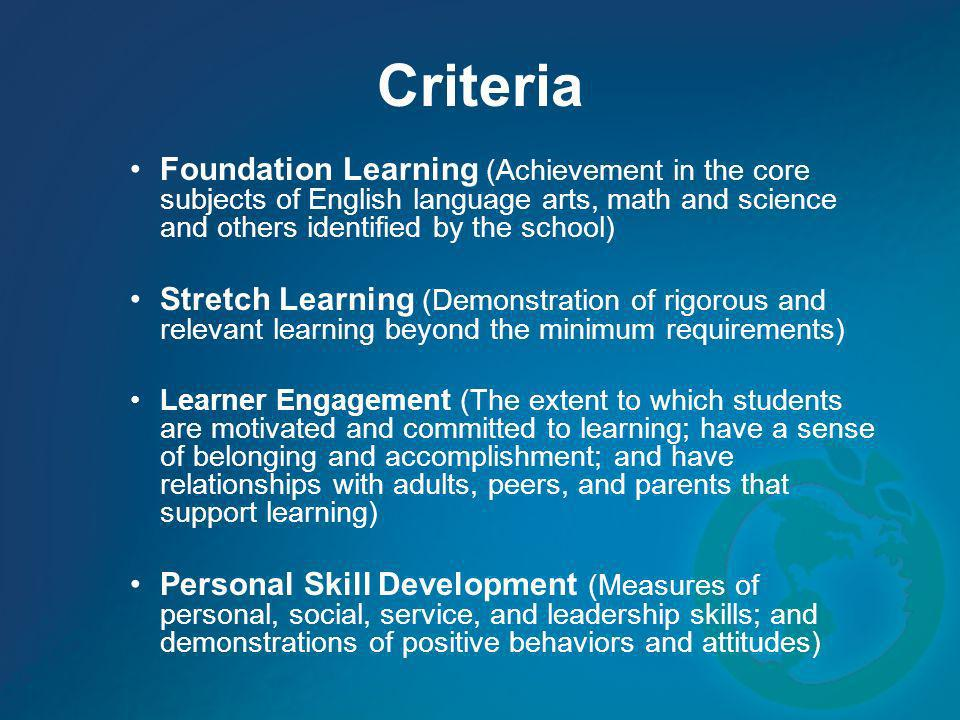Criteria Foundation Learning (Achievement in the core subjects of English language arts, math and science and others identified by the school)